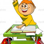 student in the class wants to answer the question of the teacher (illustration);
